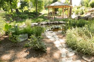 Krider stone walkway to pond